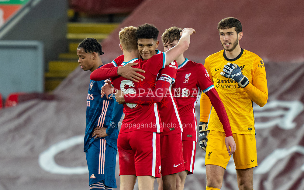 LIVERPOOL, ENGLAND - Friday, April 30, 2021: Liverpool's captain Jarell Quansah (R) and Luca Stephenson (L) celebrate after the FA Youth Cup Quarter-Final match between Liverpool FC Under-18's and Arsenal FC Under-18's at Anfield. Liverpool won 3-1. (Pic by David Rawcliffe/Propaganda)