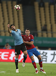 NANNING, March 23, 2018  Luis Suarez (L) of Uruguay vies for the ball during the match between Uruguay and the Czech Republic at the 2018 China Cup International Football Championship in Nanning, capital of south China's Guangxi Zhuang Autonomous Region, March 23, 2018.  dx) (Credit Image: © Cao Can/Xinhua via ZUMA Wire)