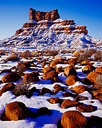 Winter view of sandstone boulders and Setting Hen Butte, Valley of the Gods, Bears Ears National Monument, Utah.