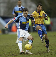 Photo: Aidan Ellis.<br /> Mansfield Town v Wycombe Wanderers. Coca Cola League 2. 24/02/2007.<br /> Wycombe's Chris Palmer (L) comes under pressure from Mansfield's Simon Brown