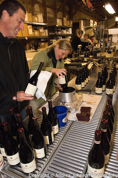 Bottling de Lancellotti wines by Paul & Kendall de Lancellotti
