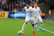Jefferson Montero of Swansea city in action.Premier league match, Swansea city v Hull city at the Liberty Stadium in Swansea, South Wales on Saturday 20th August 2016.<br /> pic by Andrew Orchard, Andrew Orchard sports photography.