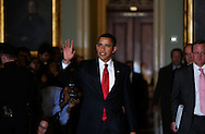 President Barak Obama waves to media after he meets with House Republicans in the U.S. Capitol on January 27, 2009.  Photo by Dennis Brack