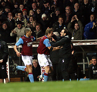 Photo: Mark Stephenson/Sportsbeat Images.<br /> Aston Villa v Tottenham Hotspur. The FA Barclays Premiership. 01/01/2008.Villa's Martin Laursen celebrates his winning goal with the manager Martin O'Neill