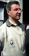 San Giovanni Rotondo.Volontario dell'Associazione Amici di Padre Pio .San Giovanni Rotondo. Volunteer  of the Association Friends of Padre Pio