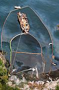 Alaska. Prince William Sound. Maxi barge steam cleans a beach on Eleanor Island.