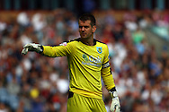 Burnley Goalkeeper Thomas Heaton makes his point. Skybet football league championship match, Burnley  v Brentford at Turf Moor in Burnley, Lancs on Saturday 22nd August 2015.<br /> pic by Chris Stading, Andrew Orchard sports photography.