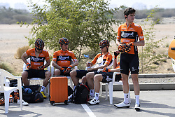 February 14, 2018 - Muscat, Oman - MUSCAT, SULTANATE OF OMAN - FEBRUARY 14 : riders of Roompot - Nederlandse Loterij during stage 2 of the 9th edition of the 2018 Tour of Oman cycling race, a stage of 167.5 kms between Sultan Qaboos University and Al Bustan on February 14, 2018 in Muscat, Sultanate Of Oman, 14/02/2018 (Credit Image: © Panoramic via ZUMA Press)