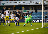 Football - 2018 / 2019 FA Cup - Third Round: Millwall vs. Hull City<br /> <br /> George Long (Hull City) can only watch as Shane Ferguson (Millwall FC) long range strike passes into the goal at The Den.<br /> <br /> COLORSPORT/DANIEL BEARHAM