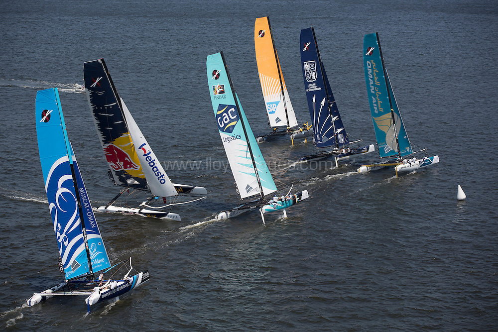 8th December, 2012. Rio de Janeiro, Brazil..Extreme Sailing Series 2012, Act 8..Images of the fleet sailing during the third days racing...Credit: Lloyd Images.