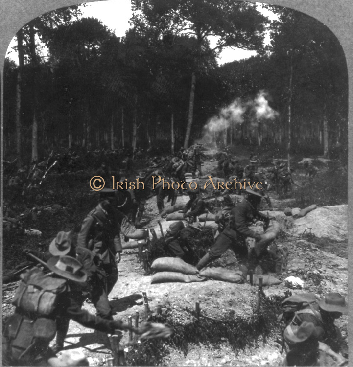 World War I 1914-1918: Battle of the Somme - Second line of support moving up under shell fire to take a trench, 8 July 1916. British soldiers in World War I.