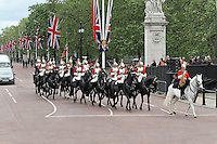 LONDON - JUNE 05: The Life Guards; The Household Cavalry Mounted Regiment, The Queen's Diamond Jubilee, The Mall, London, UK. June 05, 2012. (Photo by Richard Goldschmidt)