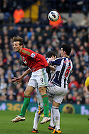 Swansea city's Michu (l) battles for the ball with Liam Ridgewell (6) of WBA. Barclays Premier league, West Bromwich Albion v Swansea city at the Hawthorns stadium in West Bromwich, England on Saturday 9th March 2013.  pic by  Andrew Orchard, Andrew Orchard sports photography,