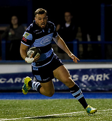 Owen Lane of Cardiff Blues crosses the line only for the try to be disallowed<br /> <br /> Photographer Simon King/Replay Images<br /> <br /> Guinness PRO14 Round 4 - Cardiff Blues v Munster - Friday 21st September 2018 - Cardiff Arms Park - Cardiff<br /> <br /> World Copyright © Replay Images . All rights reserved. info@replayimages.co.uk - http://replayimages.co.uk
