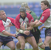 Reading, Berkshire, 10th May 2003,  [Mandatory Credit; Peter Spurrier/Intersport Images], Zurich Premiership Rugby, Shoguns second row forward, Alex Brown,  clutch's the won line out ball,
