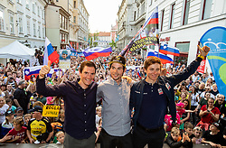 Jan Polanc, Primoz Roglic and Tadej Pogacar during reception of best Slovenian riders after Giro d'Italia 2019 and Tour of California 2019, on June 3rd, 2019, in Mestni trg, Ljubljana, Slovenia. Photo by Vid Ponikvar / Sportida