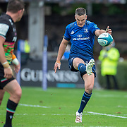 DUBLIN, IRELAND:  October 9:   Johnny Sexton #22 of Leinster kicks for touch during the Leinster V Zebre, United Rugby Championship match at RDS Arena on October 9th, 2021 in Dublin, Ireland. (Photo by Tim Clayton/Corbis via Getty Images)
