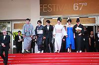 Jun Murakami, Makiko Watanabe, Nijiro Murakami, director Naomi Kawase, Jun Yoshinaga, Miyuki Matsuda at the Still The Water gala screening red carpet at the 67th Cannes Film Festival France. Tuesday 20th May 2014 in Cannes Film Festival, France.