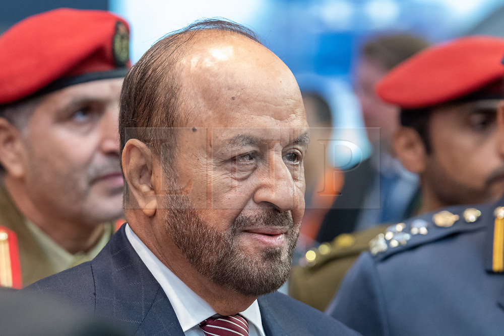 © Licensed to London News Pictures. 10/09/2019. London, UK. The Minister Responsible for Defence Affairs of Oman, Badr Bin Saud Bin Harib Al Busaidi at DESI. Defence & Security Equipment International (DESI) is the worlds largest arms fair and is held every two years in London. Photo credit: Peter Manning/LNP