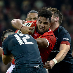 Sione Vailanu of Tonga under pressure from Owen Watkin of Wales<br /> <br /> Photographer Simon King/Replay Images<br /> <br /> Under Armour Series - Wales v Tonga - Saturday 17th November 2018 - Principality Stadium - Cardiff<br /> <br /> World Copyright © Replay Images . All rights reserved. info@replayimages.co.uk - http://replayimages.co.uk