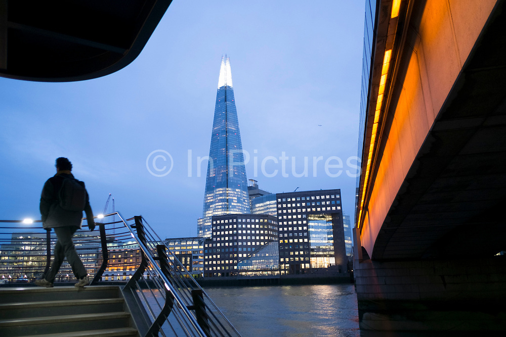 The Shard seen over the River Thames beside new steps down from London Bridge in London, England, United Kingdom. The Shard, also referred to as the Shard of Glass, Shard London Bridge and formerly London Bridge Tower, is a 95-storey skyscraper in Southwark, London, that forms part of the London Bridge Quarter development. (photo by Mike Kemp/In Pictures via Getty Images)