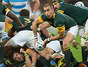 London, Great Britain,  Ruan PIENAAR, passing the ball, during the South Africa vs Argentina. 2015 Rugby World Cup, Bronze Medal Match.Queen Elizabeth Olympic Park. Stadium, Stratford. East London. England,, Friday  30/10/2015. <br /> [Mandatory Credit; Peter Spurrier/Intersport-images]