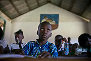 Students attend the French class in a private school in Bangui.