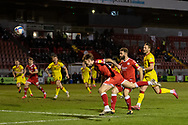 Crawley Town forward James Tilley (#38) has a header saved during the EFL Sky Bet League 2 match between Crawley Town and Walsall at The People's Pension Stadium, Crawley, England on 16 March 2021.