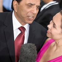 SHEFFIELD, UNITED KINGDOM - 9th June 2007: Bollywood legend Dharmendra interviewed by Myleene Klass at International Indian Film Academy Awards (IIFAs) at the Sheffield Hallam Arena on June 9, 2007 in Sheffield, England.