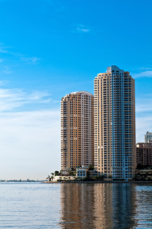 View of condominium apartments in Miami, Brickell Key looking Biscayne Bay