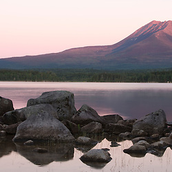 Dawn on Katahdin Lake in Maine's Northern Forest.  Mount Katahdin is in the background. Near Baxter State Park.