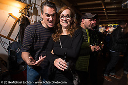 Booze Bon party at the Amadeus Speed Shop after a long day at the Intermot Motorcycle Trade Fair. Cologne, Germany. October 9, 2016. Photography ©2016 Michael Lichter.