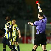 Referee's Tolga Ozkalfa is showing red card during their Turkish superleague soccer match S.B. Elazigspor between Fenerbahce at the Ataturk stadium in izmir Turkey on Saturday 18 August 2012. Photo by TURKPIX