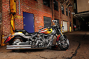2006 Yamaha Roadliner 1854cc custom built by Tommy Bolton - Tombo Racing.  Parked at night in back alley of downtown Oklahoma City