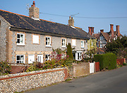 Attractive traditional flint faced cottages in Overstrand, Norfolk, England
