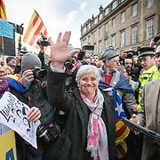 Clara Ponsati and her lawyer Aamer Anwar leave Edinburgh Sheriff Court. <br /> 28th March 2018  Edinburgh, Scotland.