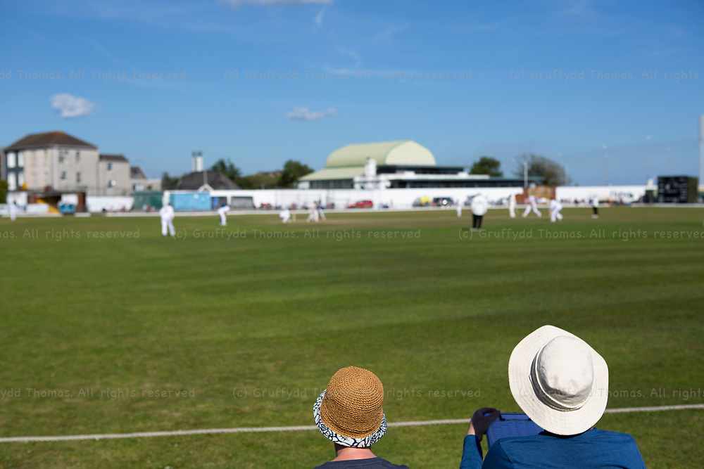 Two elderly ladies keep score of the match between Glamorgan and Derbyshire at St Helen's, Swansea.