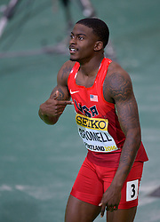 Trayvon Bromell of the United States celebrates after winning the men's 60 metres final during day two of the IAAF World Indoor Championships at Oregon Convention Center in Portland, Oregon, the United States, on March 18, 2016. EXPA Pictures © 2016, PhotoCredit: EXPA/ Photoshot/ Yin Bogu<br /> <br /> *****ATTENTION - for AUT, SLO, CRO, SRB, BIH, MAZ, SUI only*****