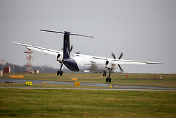 © Licensed to London News Pictures. 10/12/2019. Leeds UK. A Flybe aircraft arriving from Belfast struggles to land in strong crosswinds at Leeds Bradford Airport this morning as Storm Brendan begins to batter the UK. Photo credit: Andrew McCaren/LNP