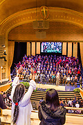 The Brooklyn Tabernacle Choir singing at a Sunday morning service.