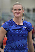 Katie Nageotte is introduced before the start of the elite women's competition during the National Pole Vault Summit, Friday, Jan. 17, 2020, in Reno, Nev.
