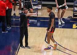 Jan 25, 2021; Morgantown, West Virginia, USA; Texas Tech Red Raiders head coach Chris Beard talks to Texas Tech Red Raiders guard Terrence Shannon Jr. (1) during the first half against the West Virginia Mountaineers at WVU Coliseum. Mandatory Credit: Ben Queen-USA TODAY Sports