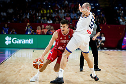 Bogdan Bogdanovic of Serbia vs Marco Cusin of Italy during basketball match between National Teams of Italy and Serbia at Day 14 in Round of 16 of the FIBA EuroBasket 2017 at Sinan Erdem Dome in Istanbul, Turkey on September 13, 2017. Photo by Vid Ponikvar / Sportida