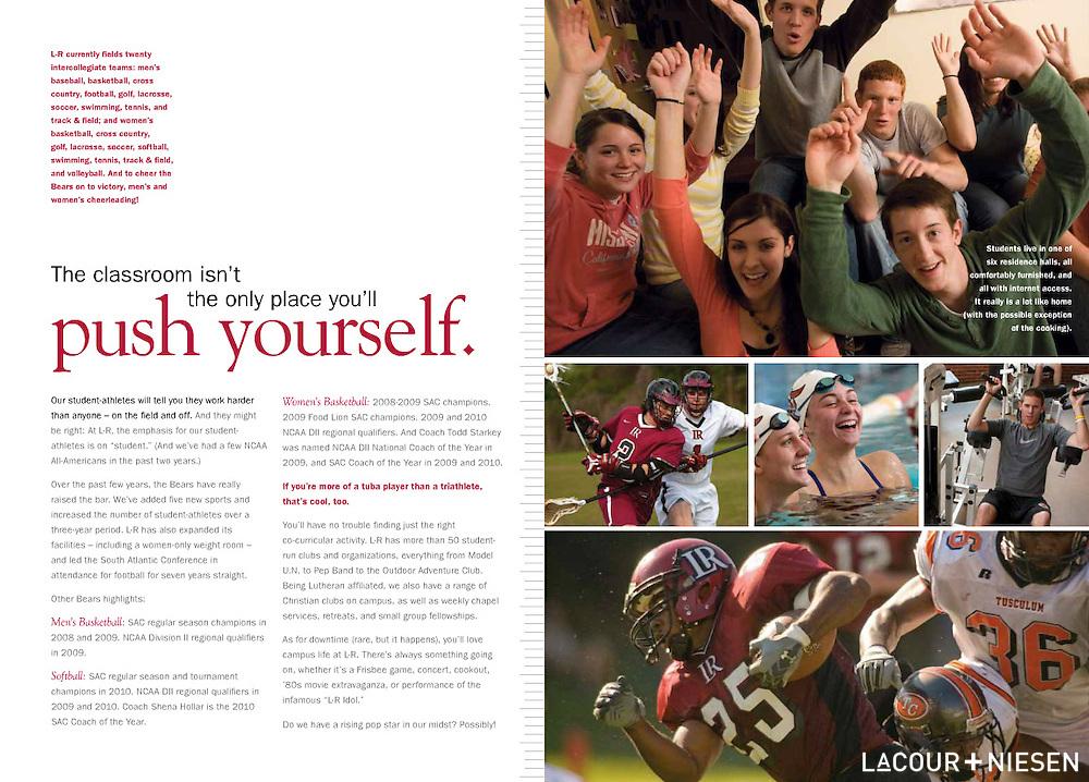 Viewbook for Lenoir-Rhyne University, Hickory, N.C. Design by Mindpower Inc. (www.mindpowerinc.com)