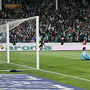 Bursaspor's Volkan Sen (2ndR) scores during the Turkish soccer super league match Bursaspor between Fenerbahce at the Ataturk Stadium in Bursa Turkey on Monday, 24 November 2014. Photo by Aykut AKICI/TURKPIX
