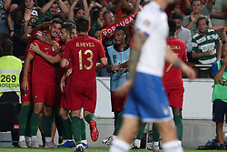 September 10, 2018 - Lisbon, Portugal - Portugal's forward Andre Silva celebrates with teammates after scoring during the UEFA Nations League A group 3 football match Portugal vs Italy at the Luz stadium in Lisbon, Portugal on September 10, 2018. (Credit Image: © Pedro Fiuza/ZUMA Wire)