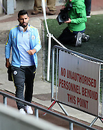 Sergio Aguero of Manchester city arrives at the stadium ahead of the game. Premier league match, Swansea city v Manchester city at the Liberty Stadium in Swansea, South Wales on Saturday 24th September 2016.<br /> pic by Andrew Orchard, Andrew Orchard sports photography.