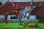 Bradford City forward James Hanson (9) with a header during the EFL Sky Bet League 1 match between Walsall and Bradford City at the Banks's Stadium, Walsall, England on 17 December 2016. Photo by Simon Davies.