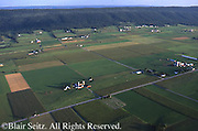 Aerial, PA farmland, Big Valley, Blue Ridge Mts. Aerial Photograph Pennsylvania