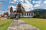A small Mexican style Catholic Church in the tiny village of Santa Ana Chapitiro, Michoacan, Mexico.